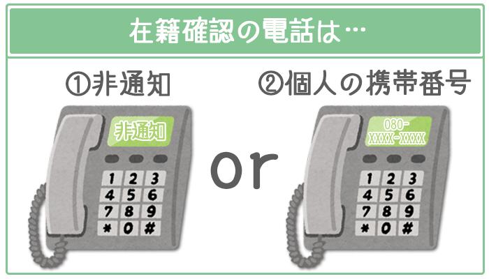 在籍確認の電話は非通知か携帯電話から