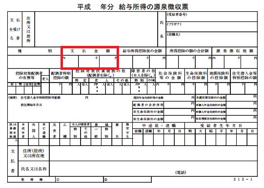 源泉徴収票の画像