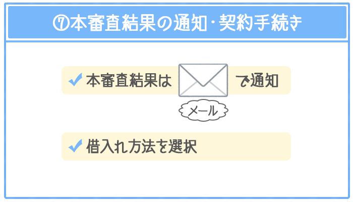 本審査の結果はメールで通知され、借入れ方法を選択することで契約手続き完了になる