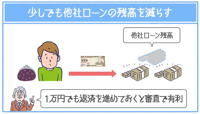 1万円でも他社ローンの返済を進めておくと審査で有利になる
