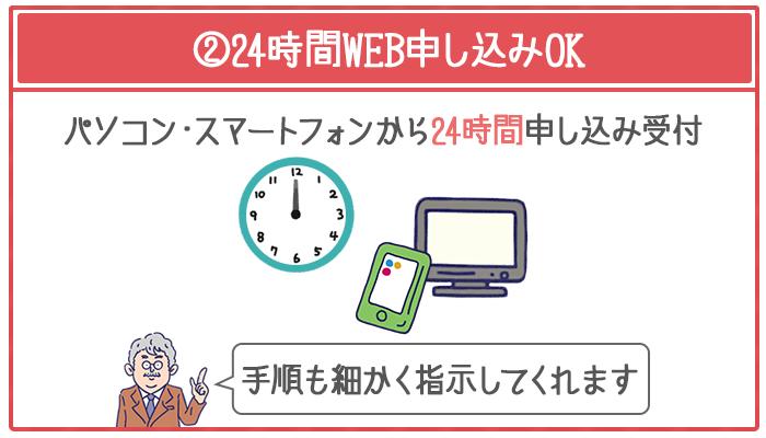 カードローンはWEB申し込みを24時間受け付けている