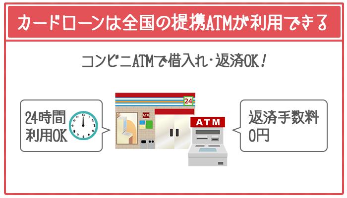 学生ローンは借入れ・返済方法が限定されるのに対し、カードローンは全国の提携ATMが手数料0円で利用できる