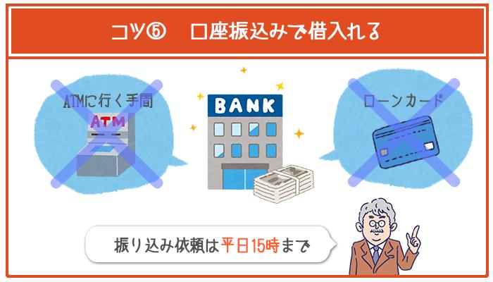 じぶん銀行カードローンの借入れを口座振込みにして、カードが自宅に届くまでの時間を省略する