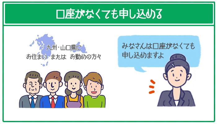 九州・山口県に住んでいる・勤務している方は福岡銀行の口座がなくても利用できる
