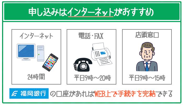「インターネット」「電話・FAX」「店頭窓口」から申し込めるが、一番のオススメはインターネット。