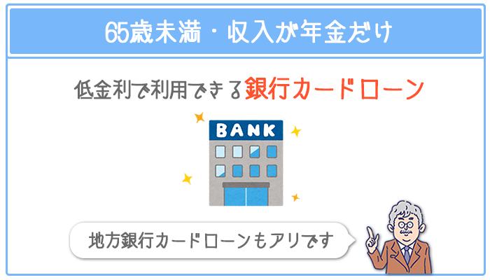 65歳未満・収入が年金だけなら低金利で利用できる銀行カードローンがおすすめ