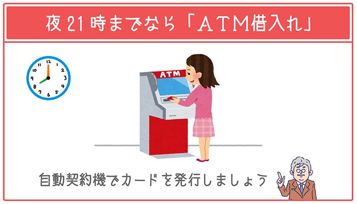夜21時までなら自動契約機でカードを発行して「ATM借入れ」を選ぼう