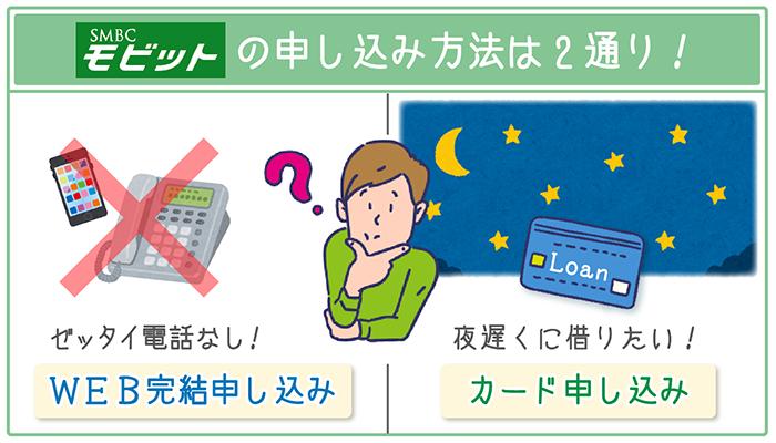 SMBCモビットへの申し込み方法は「WEB完結申し込み」「カード申し込み」の2通り