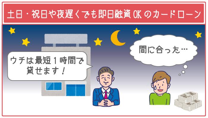 できるだけ早く借りたい人は「休日や夜遅い時間でも最短即日融資できるカードローン」を選ぶ