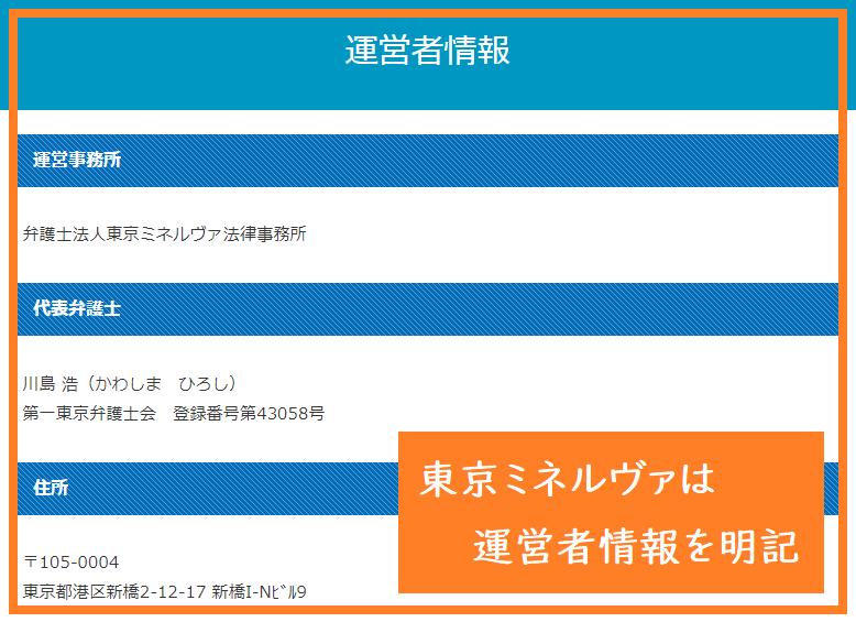 東京ミネルヴァは運営者情報を明記している